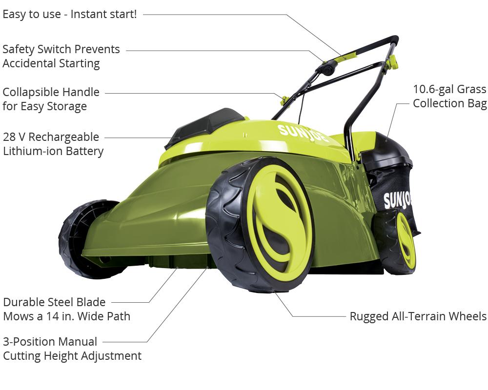 Sun Joe Mj401c Cordless Lawn Mower 14 Inch 28v Mj401c