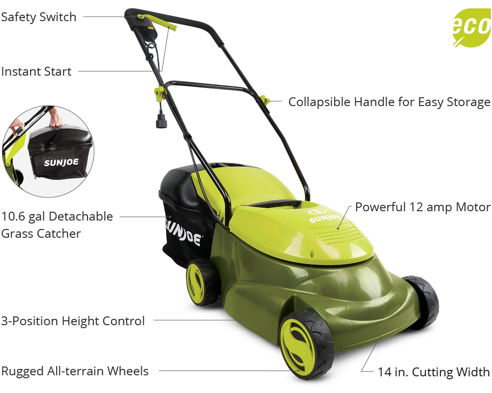 Sun Joe 14 Inch Electric Lawn Mower Mj401e Handle Diagram And Parts List For Weedeater Walkbehindlawnmower Lawns Etl Approved Full 2 Year Warranty